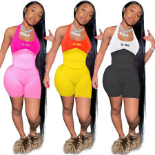 NEW Sporty Women's Letter Print O Neck Sleeveless Patchwork Casual Jumpsuit Club