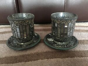 Lovely Mosaic Glass Hurricane Candle Holder Home Ornament With Plates X2