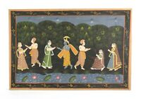 Vintage Pichwai Painting on Silk Krishna Hindu Indian Traditional Wall Hanging