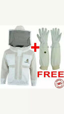 Unisex 3Layer Ultra Ventilated White Mesh Bee Jacket Round Hood+Free Gloves.  XL
