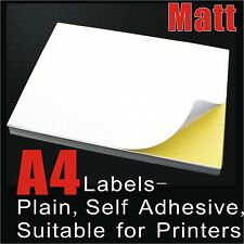 20 x A4 White Matte Self Adhesive Sticker Paper Sheet Label Laser Inkjet Print