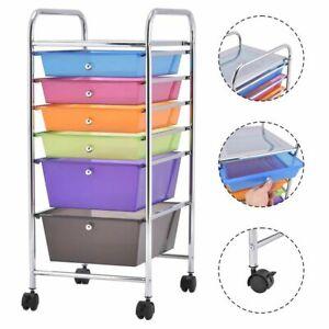 6 Drawer Rolling Storage Cart Tools Scrapbook Paper Office School Organizer