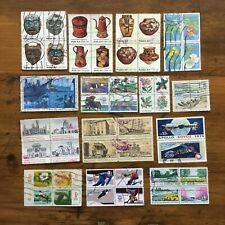 25 used attached setenant sets US postage stamps