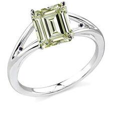 2.33 ct SI1/NATURAL WHITE YELLOW EMERALD MOISSANITE DIAMOND SILVER RING