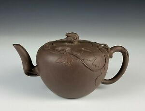 Chinese Yixing Pottery Teapot with Vine and Squirrels