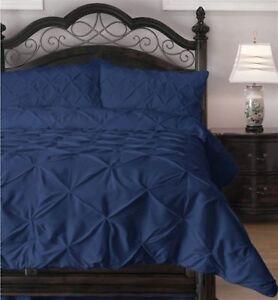 Luxor Style 3 Pc Pinch Pleat Duvet Set ~ Navy Blue ~ Full/Queen 90 x 92 **NEW**