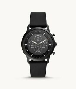Fossil Men's HR Collider Black & Black Silicone Hybrid SmartWatch 42mm FTW7010