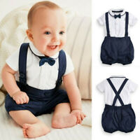 Newborn Baby Boys Gentleman Bow Tie T-Shirt Tops+Solid Shorts Overalls Outfits
