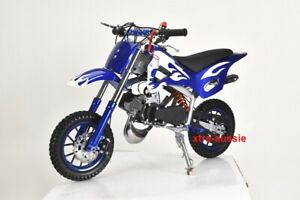 BLUE 49CC MINI MOTOR DIRT BIKE KIDS POCKET ROCKET PEE WEE MOTORCYCLE ATV TOYS