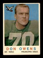 1959 Topps Football Set Break # 47 Don Owens VG to VG-EX *OBGcards*