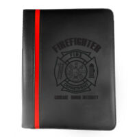 Firefighter Maltese Cross Courage Honor Leatherette Thin Red Line Padfolio