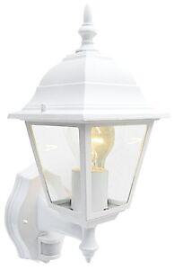 PIR MOTION SENSOR OUTDOOR SECURITY WALL LIGHT GARDEN LANTERN 4 SIDED WHITE