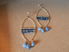 EARRINGS BLUE STONE ANTHROPOLOGIE UNIQUE GOLD PLATE BEADS DANGLE $58
