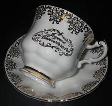 CUP & SAUCER Paragon Bone China England Joyeux Anniversaire Gold Trim Montrose