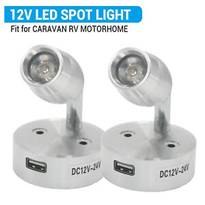 2x 12V LED Interior Spot Reading Light Camper Van Caravan Boat Touch Switch USB