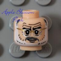 LEGO Light FLESH MINIFIG HEAD Gray White Henry Beard Grandpa Old Man Eye Glasses