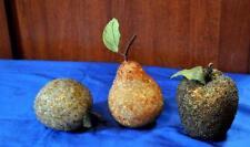 3 PIECES VTG 1950'S LIFE SIZE VENETIAN DEW DECORATIVE FRUIT - 2 APPLES, 1 PEAR