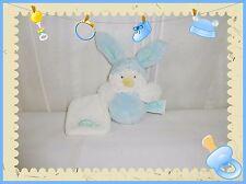 ☺ - Doudou Peluche Poussin Bleu Blanc Mini Capuche Mouchoir Baby Nat Neuf