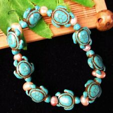 1 Strand Blue Turquoise Tortoise & Natural Pearl stretchy bracelet 7 inch