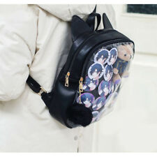 1 Pc Black Transparent Clear Candy Jelly Bag Backpack Itabag With Cat Ear Cute