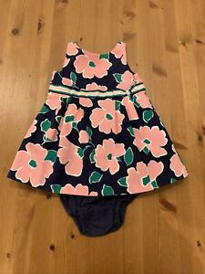 Janie & Jack Girls 2 Pc 12-18M Navy Pink Green Floral Lined Dress 2017