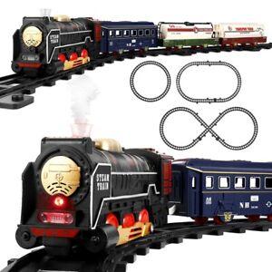 Kids Premium Electric Christmas Toy Train Tracks Set w/ Lights Sound