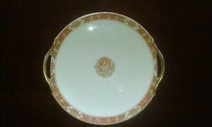 Assiette/Plat ancien porcelaine de Limoges avec dorure or et vert