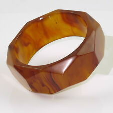 Vintage Bakelite Bracelet Bangle deep faceted carved rootbeer amber marble