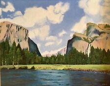 "Original Art Painting Yosemite National Park 16"" X 20"" Canvas Board 1979 Signed"