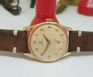 1970'S OMEGA SOLID 9K GOLD SILVER DIAL CAL:269 MANUAL WIND MAN'S WATCH