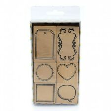Wood Rubber Stamp Set Frames (6 Pack) Gift Tag Circle Heart Speech Bubble Square