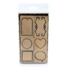 Marcos de madera conjunto de sello de goma (6 Pack) Regalo Etiqueta círculo corazón discurso Burbuja Cuadrado