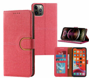 Iphone 12 Pro Max Pu Leather Wallet Case Canvas Finish Combined