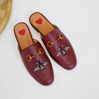 Womens Embroidery Loafer Slipper Horsebit Leather Casual Mules Shoes Slides New