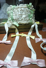 vintage antique lace RING BEARER PILLOW w SATIN STREAMERS gather satin pillow