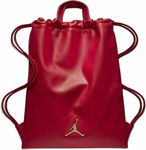 Nike Air Jordan Red Leather Drawstring Jumpman Gymsack RA0191 R78