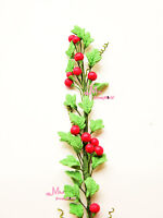 Green A bunch of Boston ivy red Fruits Clay Plant 1/12 Scale Dollhouse Miniature