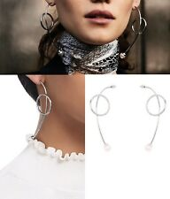Mimco 💖 Brand New $99 Haywire Drop Ear Silver Pearl  Earrings  + Dust Bag