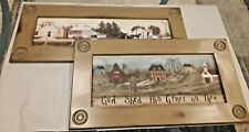 TWO DECORATIVE HANGING PICTURES COLONIAL FARM, GOD SHED HIS GRACE ON THEE, WOOD