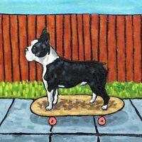 boston terrier skate boarding skateboard art TILE coaster gift  JSCHMETZ