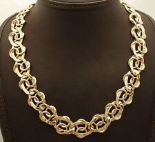 "18"" Technibond Hammered Curb Circle Chain Necklace 14K Yellow Gold Clad Silver"