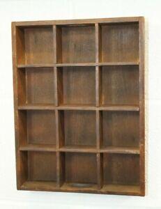 Vintage 12 Slot/Space Solid Wood Trinket Shadow Box Hanging Display Shelf Case