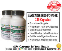 120 Avocado Seed Powder Capsules- Digestion,Blood Sugar,Cholesterol,Gut Bacteria