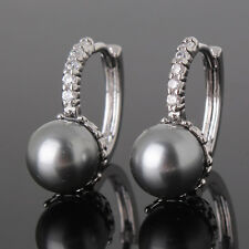 HUCHE Perfect 18k Silver Gold Filled & Black Pearl Women Earrings Studs Jewelry