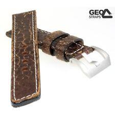 Geo-Straps break Braun 22 mm cuero-correa del reloj mano trabajado uhrband uhrbänder