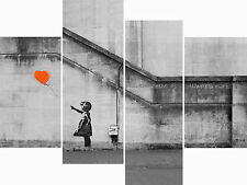 Large Banksy Canvas Prints Orange Balloon Girl Wall Art Multi 4 Panel Picture