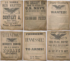 Set of 6 Civil War Recruiting Posters, Sharpshooters, Zouave, Tennessee, NJ more