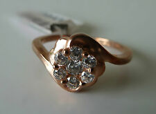 925 Sterling silver CZ Size 7.5 Ring (Rose-gold) flower, #7.5, FREE POSTAGE, NWT