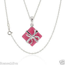 STERLING SILVER PINK ENAMEL DESIGNER STYLE FAMOUS BOW BOX VALENTINE'S DAY LOVE