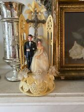 "Vintage Wedding Cake Topper Bride and Groom. 11"" Crucifix Doves -Wilton 50s 60"